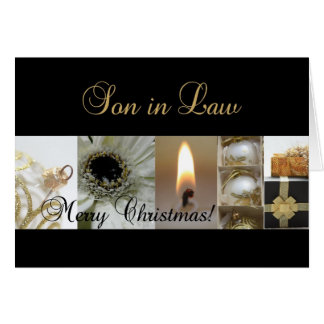 Son in Law Christmas black & White & Gold collage Greeting Card