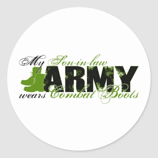 Son-in-law Combat Boots - ARMY Round Sticker