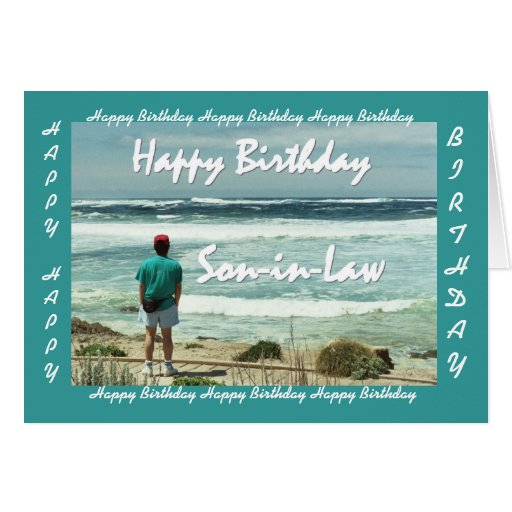 SON-IN-LAW - Happy Birthday - Man and Ocean Waves Cards
