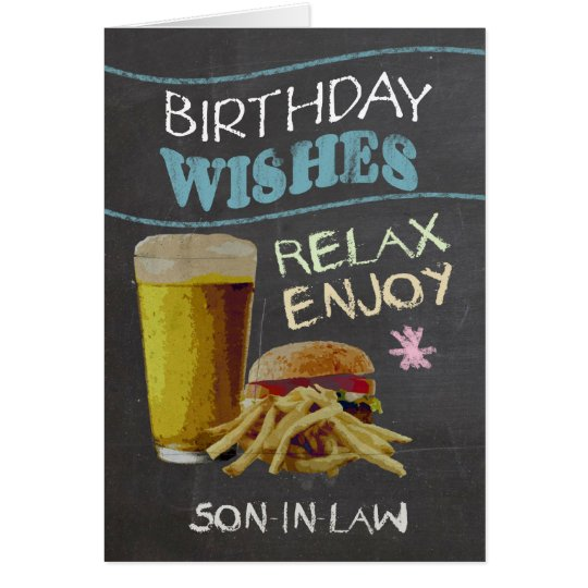Son-in-Law Trendy Chalk Board Effect, With Beer Card