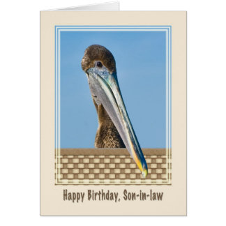 Son-in-law's Birthday Card with Brown Pelican