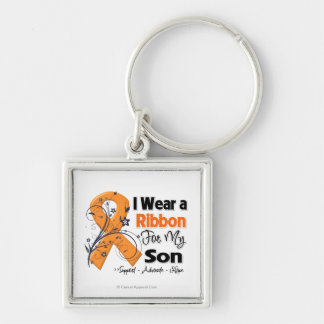 Son - Leukemia Ribbon Silver-Colored Square Key Ring