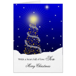 Son / Merry Christmas - Christmas Tree Greeting Card