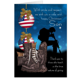 Son Military Christmas Greeting Card With Pride