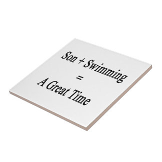 Son Plus Swimming Equals A Great Time Small Square Tile