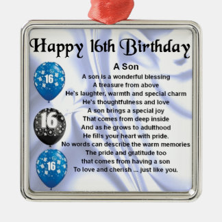 Son poem - 16th Birthday design Christmas Ornament