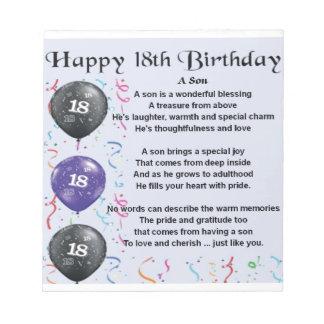 Son Poem 18th Birthday Design Notepad
