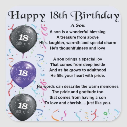 Fine Son Poem 18Th Birthday Design Square Sticker Zazzle Co Uk Funny Birthday Cards Online Fluifree Goldxyz