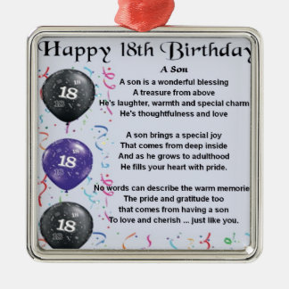 Son Poem 18th Birthday Silver-Colored Square Decoration
