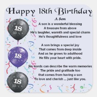 Son Poem 18th Birthday Square Sticker