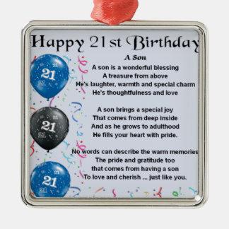 Son Poem  - 21st Birthday Design Silver-Colored Square Decoration