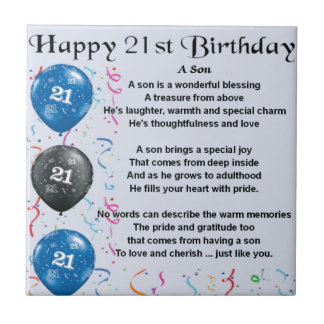 Son Poem  - 21st Birthday Design Small Square Tile