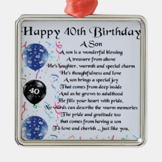 Son Poem  - 40th Birthday Design Christmas Ornament