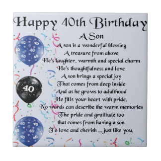 Son Poem  - 40th Birthday Design Tile