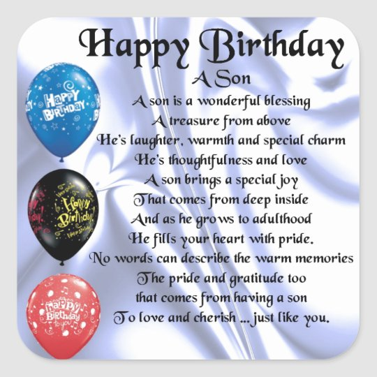 Son Poem - Happy Birthday Square Sticker
