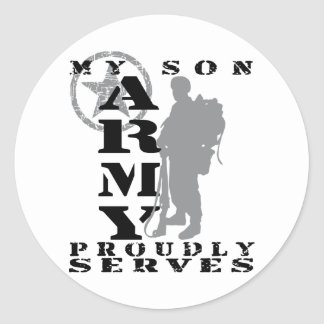 Son Proudly Serves - ARMY Round Stickers
