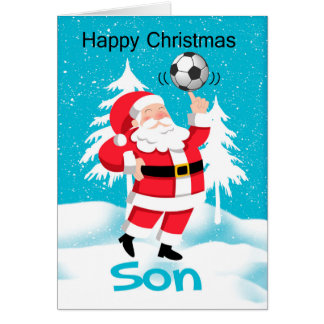 Son Soccer / Football Christmas Greeting With Snow Greeting Card