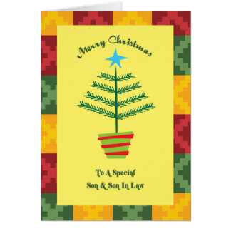 Son & Son In Law Primsy Christmas Greeting Card