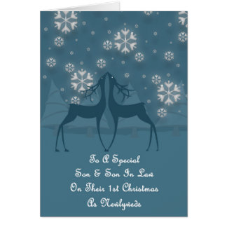 Son & Son In Law Reindeer Christmas Greeting Card