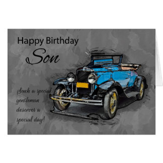 Son, Vintage Blue Car On Watercolor Background Card