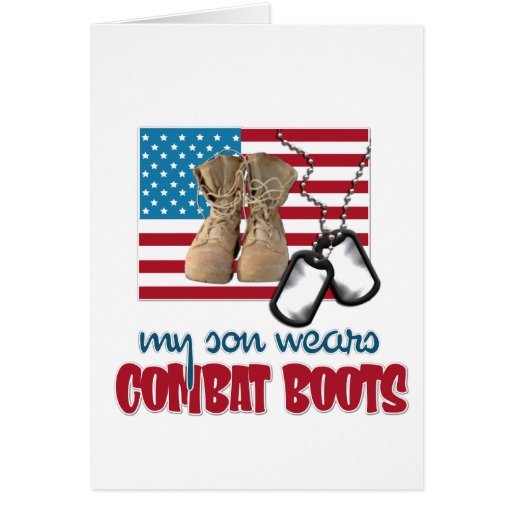 Son wears combat boots greeting cards