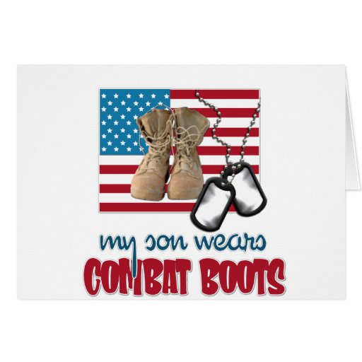 Son wears combat boots greeting card