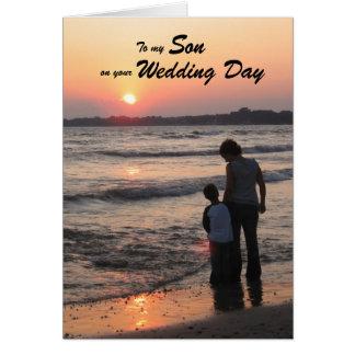 Son Wedding Day Card Sunset On Beach
