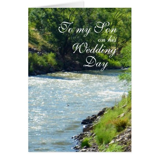 Son Wedding Day Country Stream Greeting Cards
