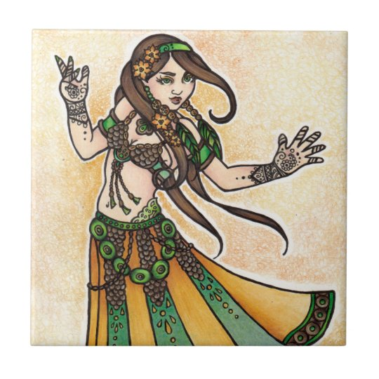 Sona Belly Dancer Small Square Tile