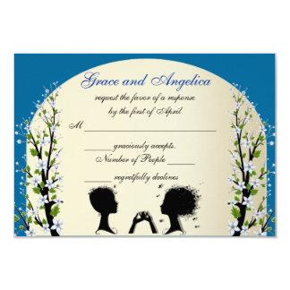Sonata Custom Lesbian Wedding RSVP Cards 9 Cm X 13 Cm Invitation Card