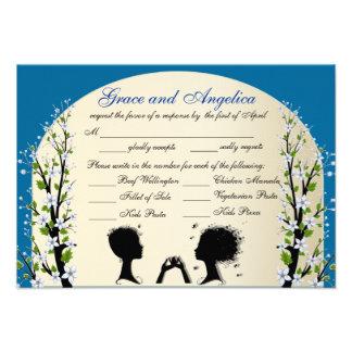 Sonata Lesbian Wedding RSVP with Meal Choices Custom Invitations