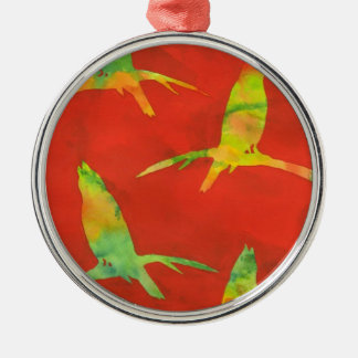 Song Bird Batik Print Silver-Colored Round Decoration