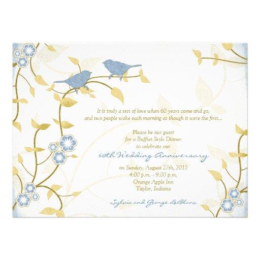 Song Birds Blue Gold Diamond Wedding Anniversary Custom Invites