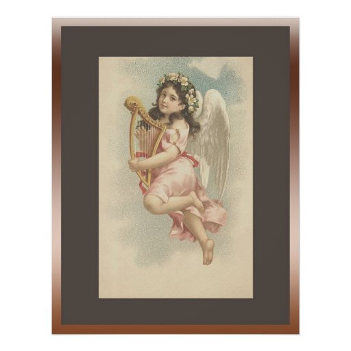 Song -Little Girl with Harp Posters