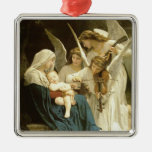 Song of Angels Christmas Nativity Jesus Manger Silver-Colored Square Decoration