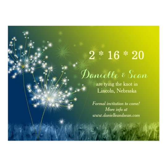 Song of Dandelions Wedding Save the Date Postcard