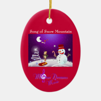 Song of Snow Mountain Red and Purple Oval Ornament