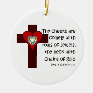 Song of Solomon 1:10 Double-Sided Ceramic Round Christmas Ornament