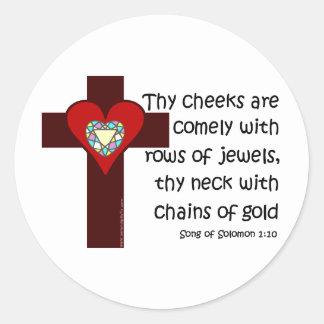 Song of Solomon 1:10 Round Sticker