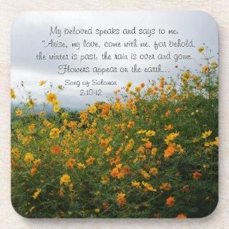 Song of Solomon 2:10-12, Bible Verse, Flowers Beverage Coasters
