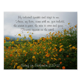 Song of Solomon 2:10-12, Bible Verse, Flowers Poster