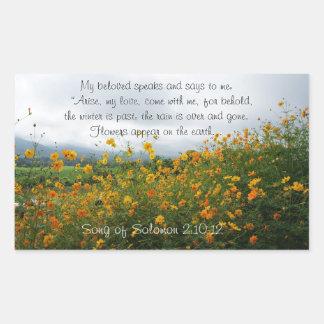Song of Solomon 2:10-12, Bible Verse, Flowers Rectangular Sticker