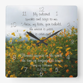 Song of Solomon 2:10-12, Bible Verse, Flowers Square Wall Clock