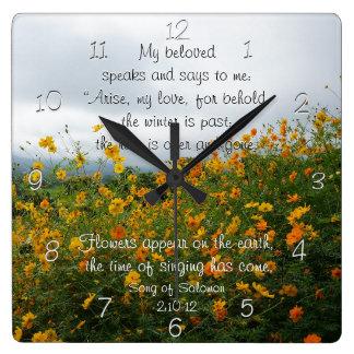 Song of Solomon 2:10-12, Bible Verse, Flowers Wall Clocks