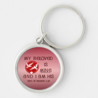 Song of Solomon 2:16 Silver-Colored Round Key Ring
