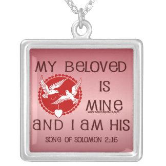 Song of Solomon 2:16 Square Pendant Necklace