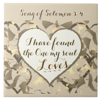 Song of Solomon 3:4 Bible Verse, Heart Large Square Tile