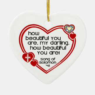Song of Solomon 4:1 Ceramic Heart Decoration