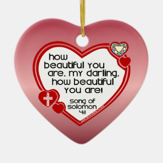 Song of Solomon 4:1 Ceramic Heart Decoration
