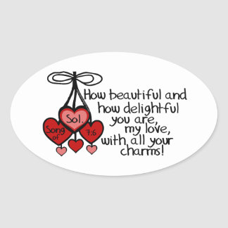 Song of Solomon 7:6 Oval Stickers